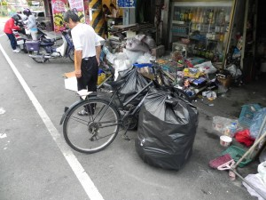 Recycling collection on bicycle